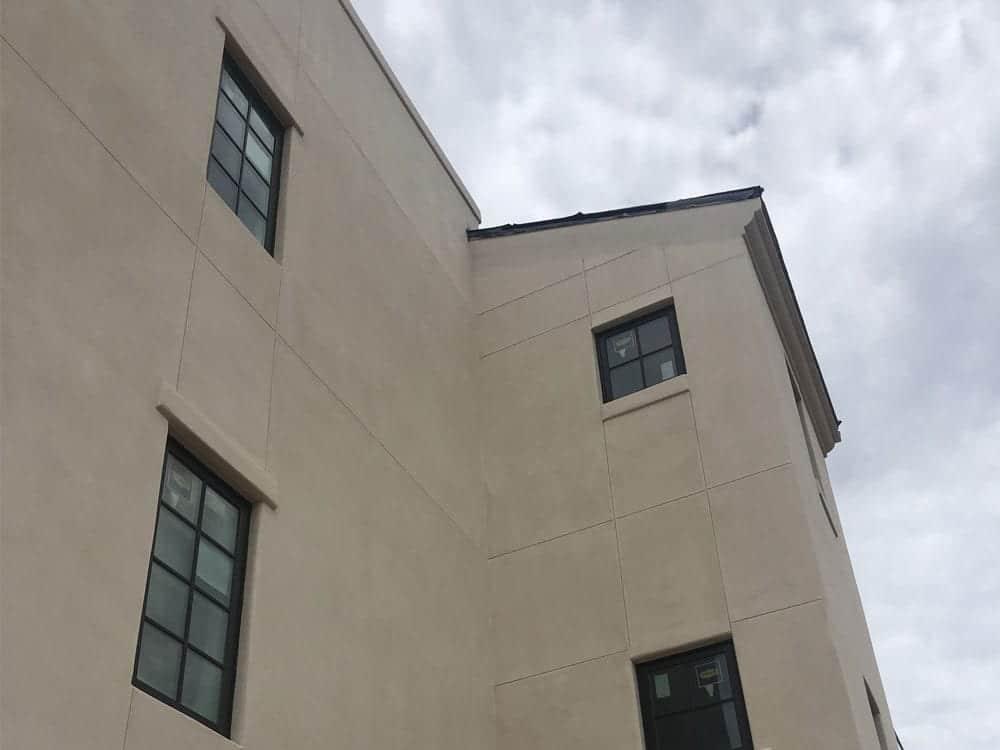stucco building